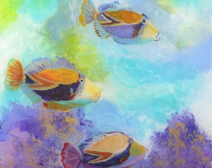Tropical Hawaiian Fish Art - Square Art Print - Kauai Hawaii - Childrens Wall Art - Kids Tropical Fish Decor - Tropical Reef Fish Art