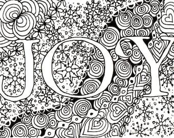 Printable DIY Zendoodle JOY card 5x7 pdf from Kauai Hawaii Mele Kalikimaka Christmas doodle black white zentangle inspired art