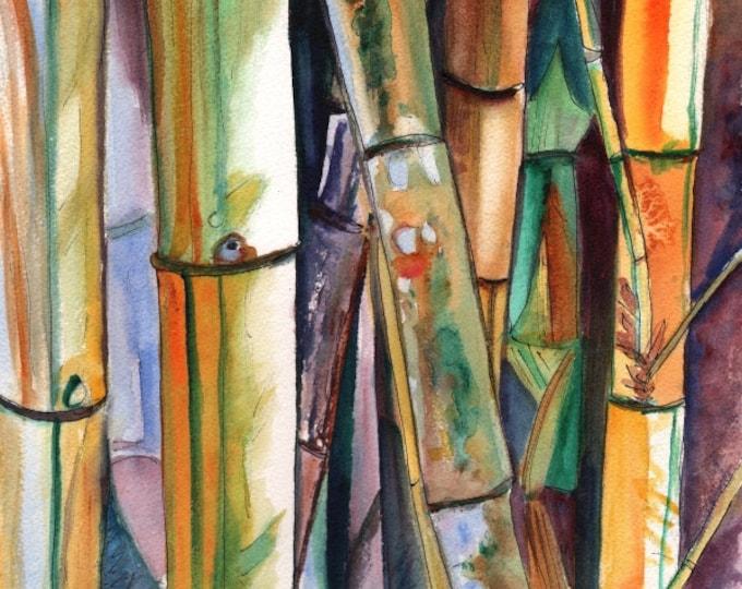 Bamboo art print, Kauai art, Hawaii art, Japanese bamboo, Oriental bamboo, Asian bamboo art, green bamboo, exotic bamboo, bamboo painting