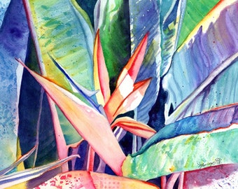 Bird of Paradise Watercolor, Original Paradise Art, Tropical Flowers, Hawaii Decor, Kauai Art, Original Hawaiian Painting, Aloha Art