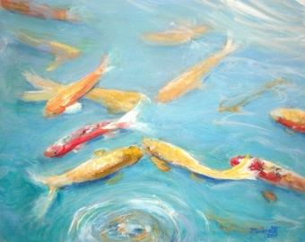koi pond art, tropical koi print, Oriental koi art, swimming koi fish, zen koi art