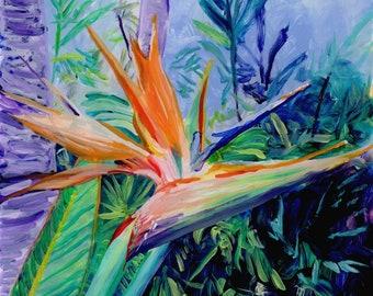 Bird of Pardise Art Print, Hawaiian art,  bird of paradise flower, tropical flowers, bird of paradise painting, Hawaii painting, Hawaii art