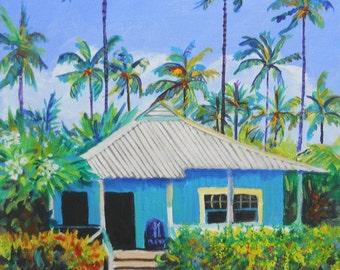 Waimea Cottage print from Kauai Hawaii Tropical Wall Art Plantation House Vacation blue green teal palm tree tropical