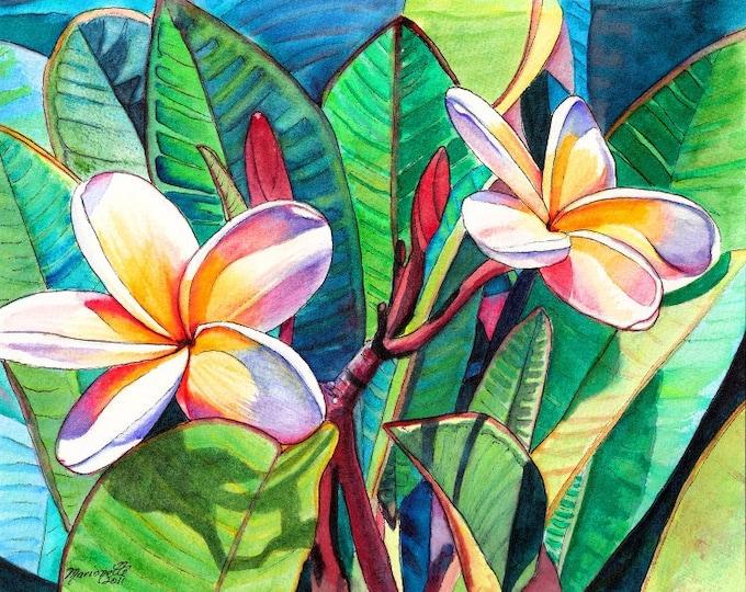 Kauai Plumeria Garden print from Kauai Hawaii plumerias frangipani aloha flower tropical flowers