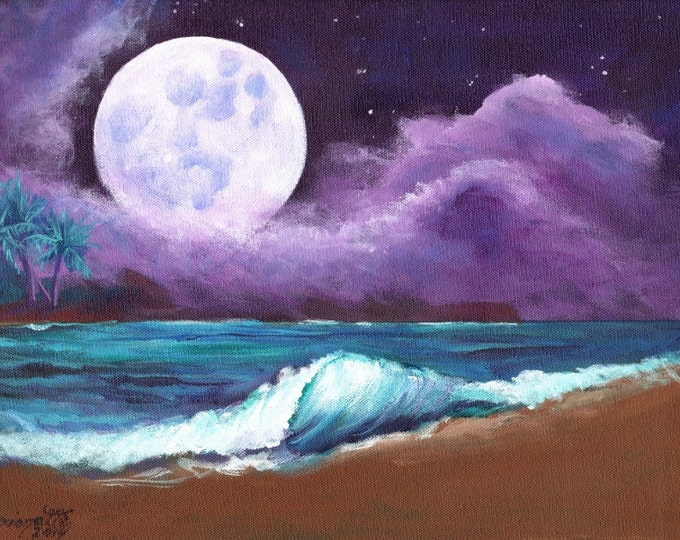 Kauai Beach Moon Art - 5 x 7 Giclee Print - Hawaiian art - Romantic Kauai Moonlight- Hawaii Moon Painting - home decor - Kauai Night Sky