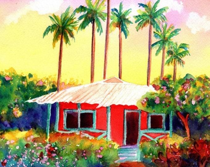 Mele Kalikimaka, Hawaiian Christmas Card, Hawaii Christmas, Hawaiian Cottage, Tropical Christmas, DIY Christmas Cards