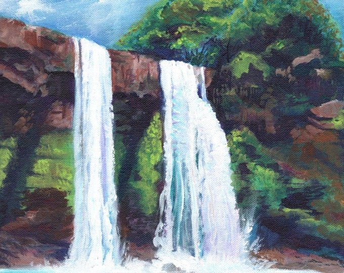 Wailua Falls Kauai  - Kauai Art Print - Kauai Waterfall Art - Hawaiian Art - Kauai Twin Falls Print - Hawaiian Landscape Decor