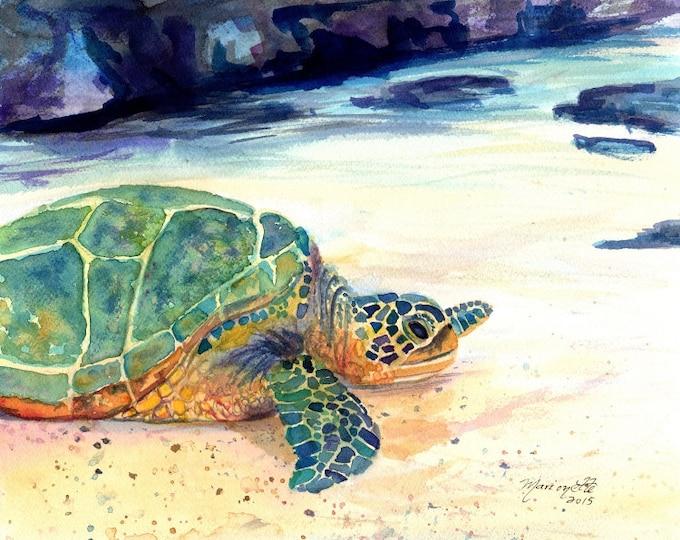 Turtle Print Kauai Art Hawaiian Paintings honu sea turtle gifts kids room decor turtle paintings green sea turtles hawaii prints