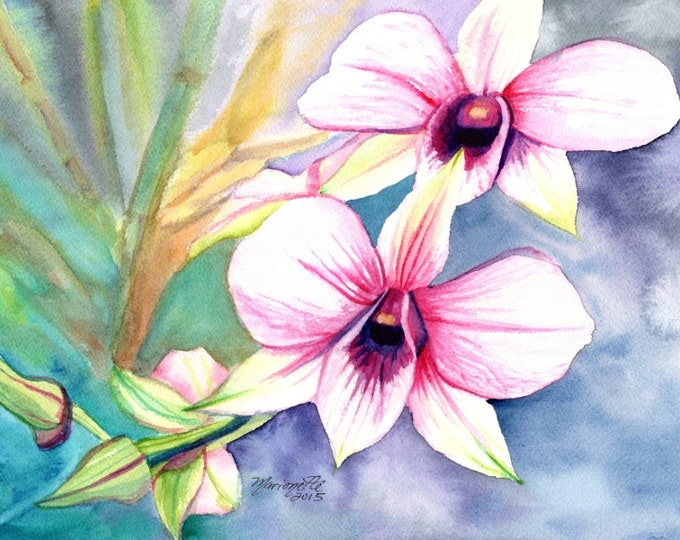 orchid prints, orchid art, orchid painting, tropical flower art, dendrobium paintings, hawaii decor, hawaiian wall art, housewarming gift,