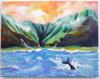 Kauai Painting, Kauai Art, Kauai Beach Art, Hawaii Art, Beach Painting, Na Pali Coast Kauai, Whale Tail Art, Humpback Whale, Hawaii Whales