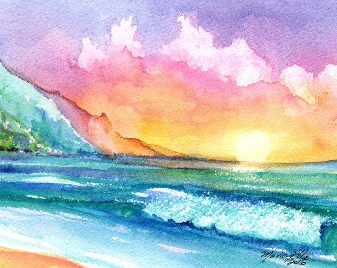 sunset 5x7 art print tropical sunsets prints hawaii paintings marionette taboniar kauaiartist hawaii painting hawaiian artwork beach ocean
