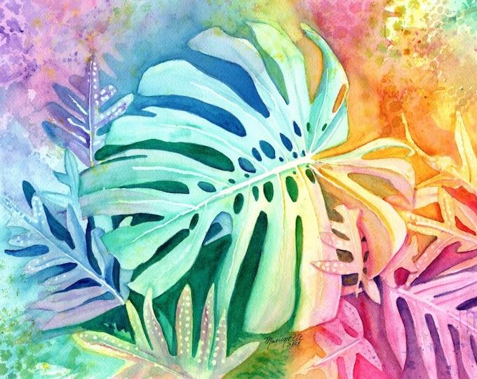 Monstera Print, Monstera Art, Tropical Plants, Kauai Art, Hawaiian Painting, Monstera Deliciosa, Hawaii Decor, Rainbow, Hawaiian design