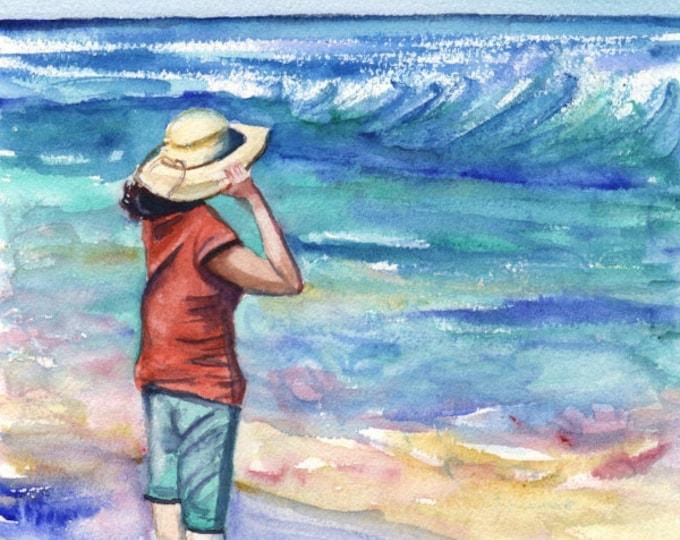 Kauai Beach Art -  Kauai Seascape Art - Woman at the Beach - Hawaiian Art Prints - Lady With Hat Home Decor - Looking Out