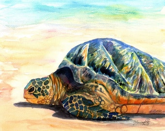 Green Sea Turtle Fine Art Print Kauai Art Hawaiian Sea Turtle Painting Hawaii Wall Art Ocean Decor Honu Prints Beach Decor Turtles