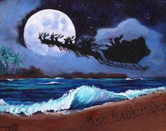 mele kalikimaka hawaiian printable diy christmas card 5x7 pdf from kauai hawaii full moon sleigh beach holiday - Hawaiian Christmas Cards
