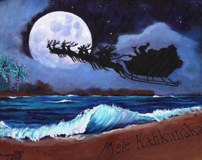 Mele Kalikimaka Hawaiian Printable DIY Christmas card 5x7 pdf from Kauai Hawaii full moon sleigh beach holiday