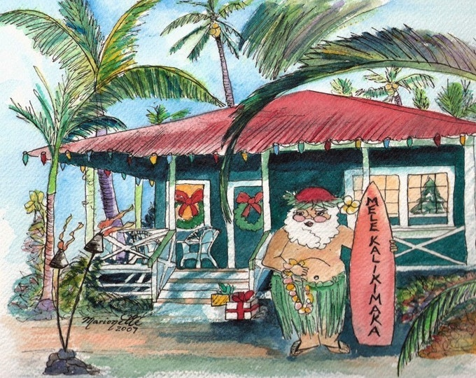 Mele Kalikimaka Cottage Hawaiian Santa Art Print from Kauai, Hawaii by Marionette Taboniar