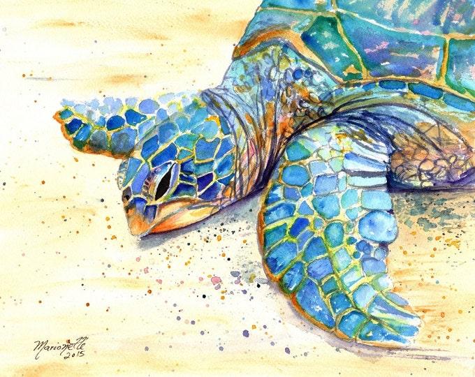 Sea Turtle Fine Art Print - Kauai Art - Hawaiian Honu Painting - Childrens Wall Art - Ocean Sea Decor - Animal Giclee Print - Beach Art