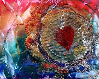 Happy Valentine's Day Card Printable DIY Valentines Love 5x7 pdf Be My Valentine Downloadable Download  Hearts Romance encaustic art