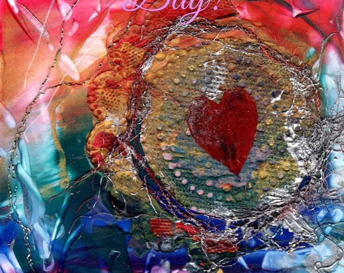 Happy Valentine's Day Card Printable DIY Valentines Love 5x7 pdf Be My Valentine Downloadable Download  Hearts Romance encaustic art