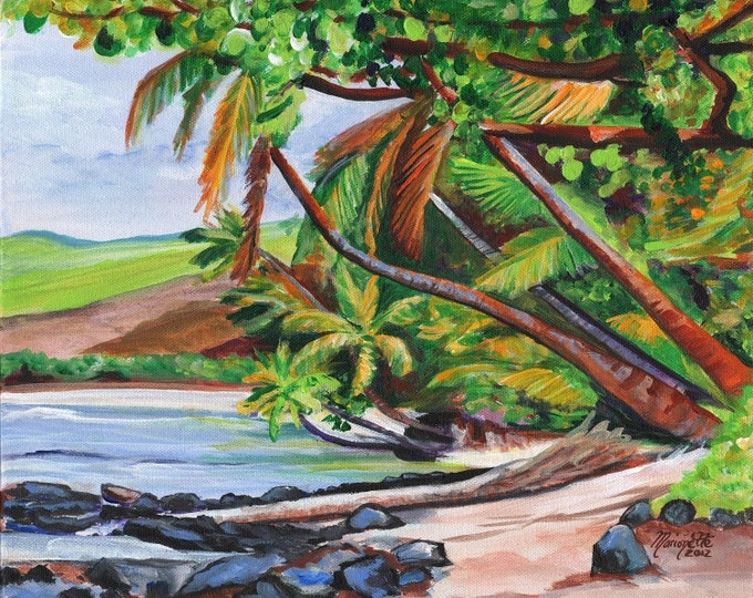 Hawaii Landscape Print, Tropical Coconut Print, Makaweli Kauai Art, Pakalas Beach Print, Hawaiian Beach Painting, Art from Kauai