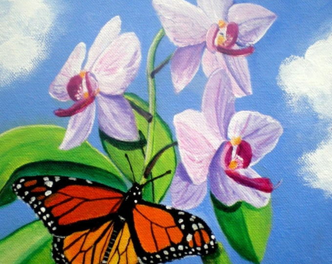 Orchids and Butterfly Art Print, monarch butterfly, whimsical orchid art, house warming gift, tropical art