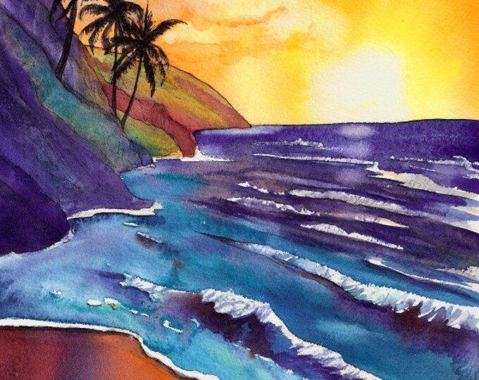 sunset painting, kauai na pali coast, Kauai print, tropical beach, hawaiian decor, hawaii beaches, sunset watercolor art, sunset decor