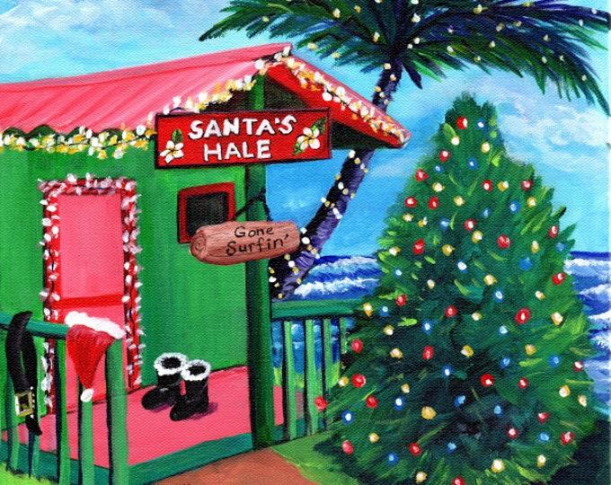 Hawaii Christmas Art, Mele Kalikimaka, Hawaiian Santa, Surfing Santa, Kauai Christmas Cottage, Santas Hale, Gone Surfing, Tropical Christmas
