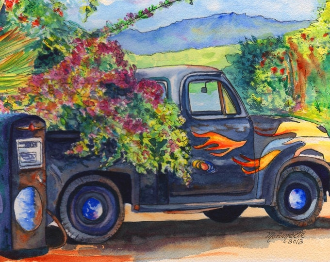 Hanapepe Truck print, Kauai art,  Hanapepe town, old trucks, trucks with flames, tropical truck, Hanapepe art, Hawaiian art, Hawaiian decor