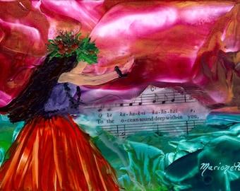 Hula art print, Hula Girl Decor, Hawaiian Hula Art, Hula Paintings, Hawaiian Language, Music Lyrics, Encaustic Art Print, Hawaii Art