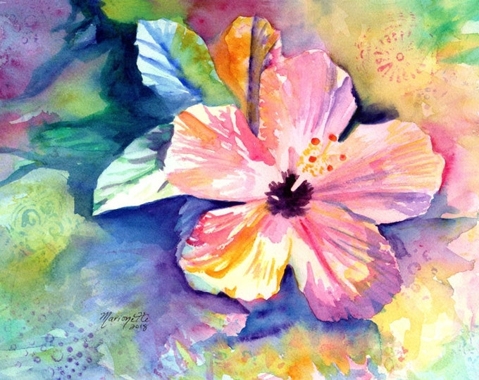 Hibiscus watercolor, Original Hibiscus Art, Tropical Flowers, Kauai Art, Original Hawaiian Paintings,  Colorful Hibiscus, Hawaii Decor