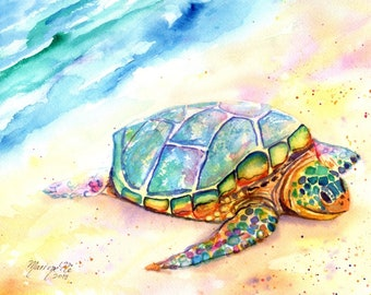 Sunbathing Turtle 3 Original Watercolor Painting by Marionette Taboniar from Kauai Hawaii