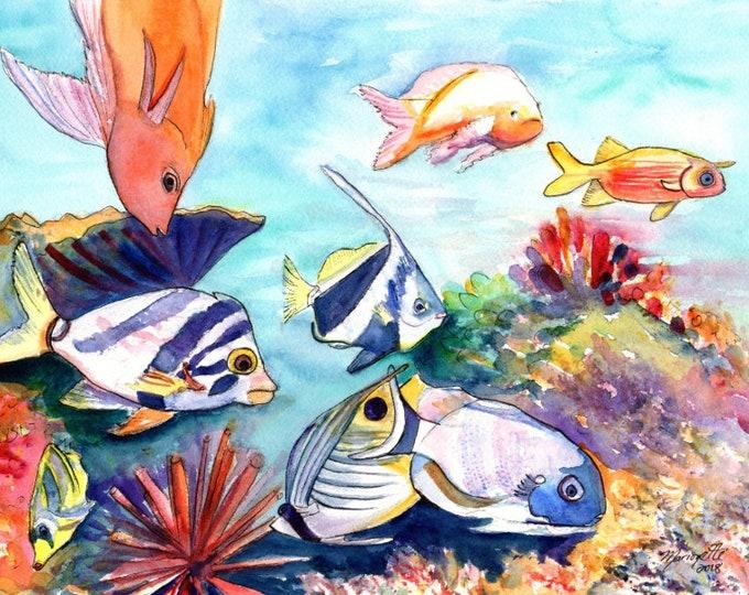 Hawaiian Tropical Fish, watercolor painting, Hawaii fish art, sea life, reef painting, moorish idol, angel fish, hawaii art, ocean paintings