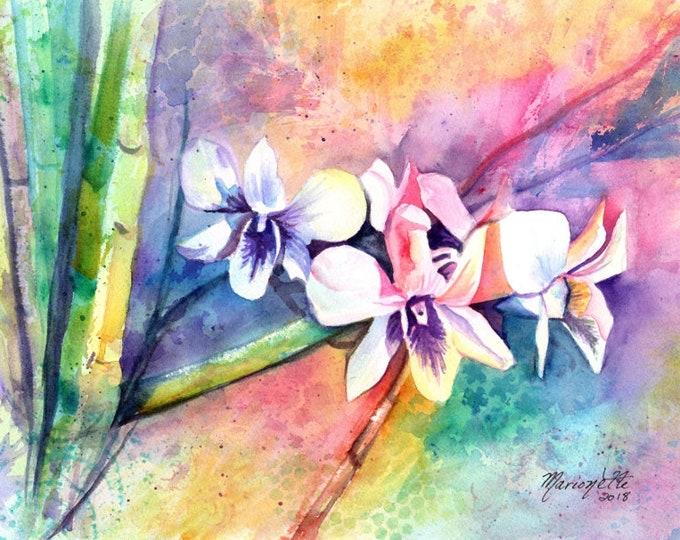 Orchid Watercolor, Original Orchid Art, Tropical Flowers, Kauai Art, Original Hawaiian Painting,  Colorful Orchids, Hawaii Decor, Rainbow