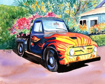 Old Truck art, Hanapepe truck print, Kauai art, Hawaii painting, pickup truck art, trucks with flames, Hanapepe Town, Hanapepe Kauai