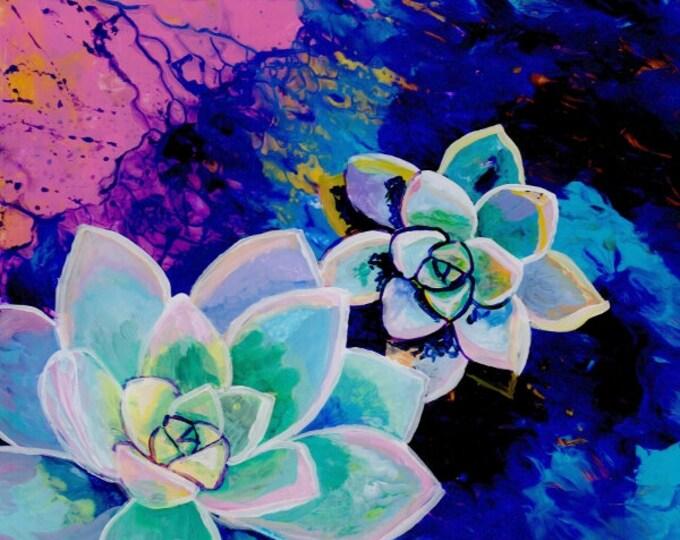Rosette Succulents, Succulent Painting, Succulent Cactus Art, Tropical Art, Southwest Succulent Paintings, Succulent Plant Print, Hawaii Art