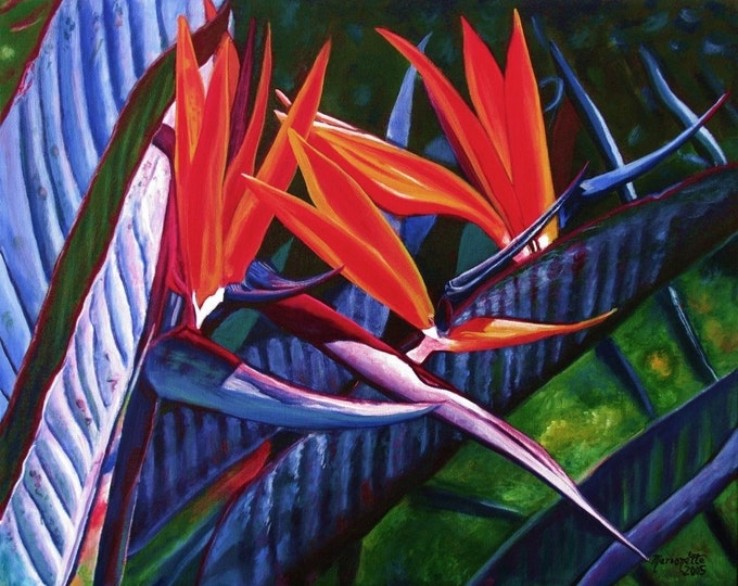 Bird of Paradise Art, Bird of Paradise Painting, Hawaii Print, Hawaiian Tropical Flower Art, Kauai Art, Hawaii Decor, Bird of Paradise Plant