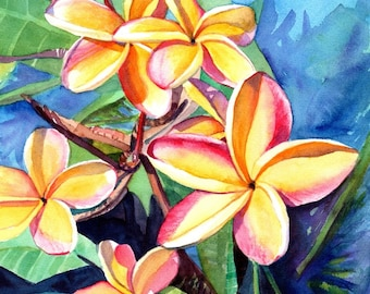 plumeria art, plumeria print, plumeria artwork, paintings of plumeria, kauai artist, hawaiian art galleries, oahu maui, kauai fine art,
