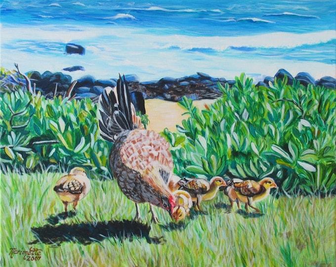 chicken art, chicken print, hen and chick art, kauai chickens, hen and chick print, baby chicks, chickens by the beach, Kauai beaches