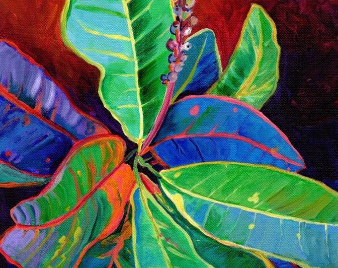 Croton Leaves, croton art print, tropical leaves, Hawaiian plants, Hawaii art, tropical foliage, Kauai art, Maui art, Oahu paintings