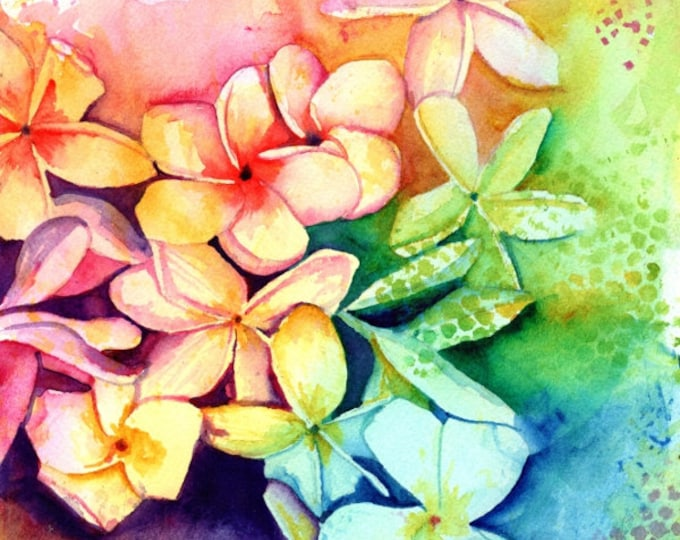Plumeria Print, Plumeria Art, Tropical Flowers, Frangipani Art, Kauai Art, Original Hawaiian Painting, Aloha Flowers, Rainbow, Hawaii Decor