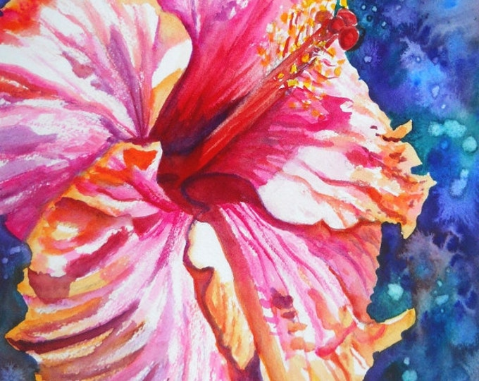 Hibiscus art, tropical flower art, hibiscus print, pink hibiscus, exotic flower art, Hawaii painting, watercolor hibiscus
