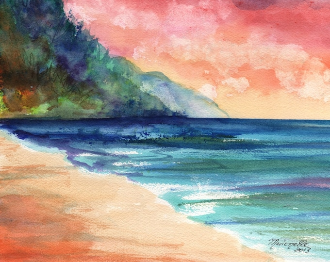 sunset art, sunrise print, kauai beach, Kauai prints,  hawaii beaches, hawaiian paintings, ocean waves, kee beach, na pali coast