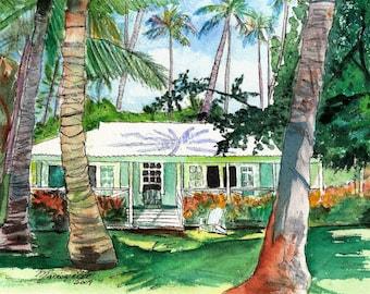 Kauai Plantation Cottage - Kauai Art Print - Hawaiian Wall Decor - Tropical House Art - Waimea Plantation Cottages - Hawaiian Art