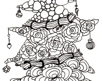 Printable DIY Zendoodle Christmas Tree card 5x7 pdf from Kauai Hawaii Mele Kalikimaka Christmas doodle black white zentangle inspired art