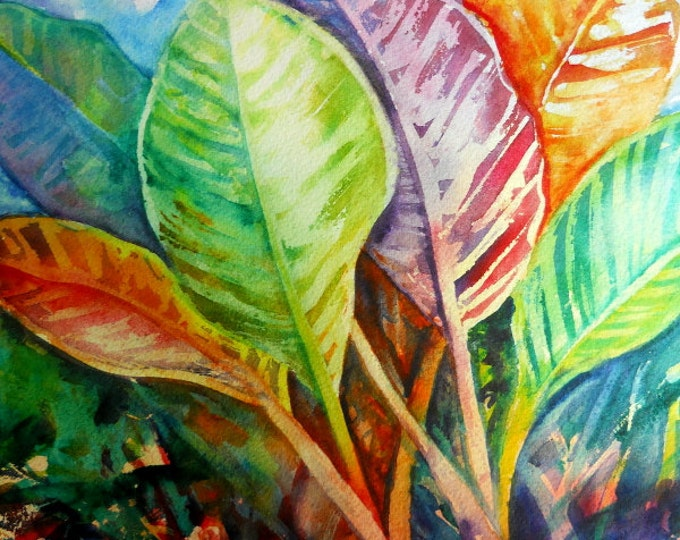 Tropical Leaves, tropical foliage, Hawaii art, colorful leaves, tropical decor, tropical wall art, art prints, colorful painting