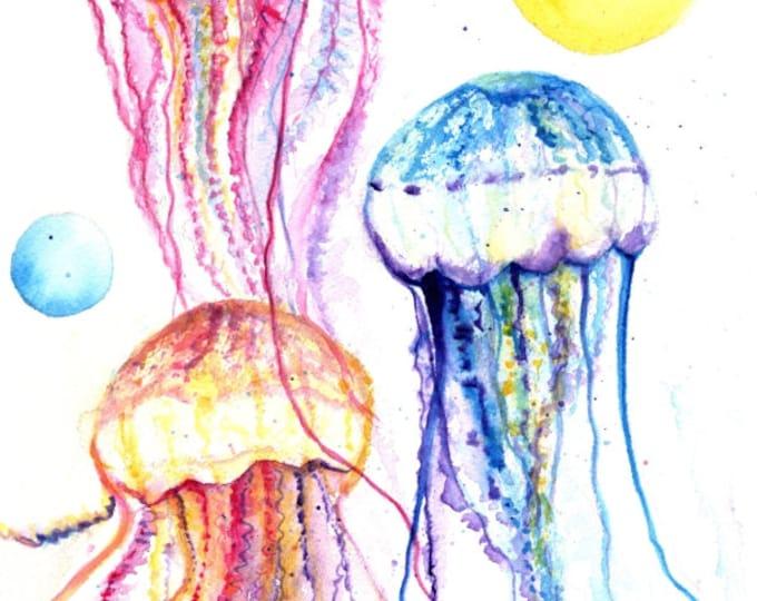 Jelly Fish Print,  Jellyfish watercolor, Hawaii art, jelly fish painting, ocean art, Hawaii painting, nursery art, animal print Hawaii decor