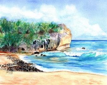 Shipwreck's Beach Hawaii, Shipwreck Art Print, Hawaii decor, ocean print, surf art, Kauai art, shipwreck beach hawaii, wave art