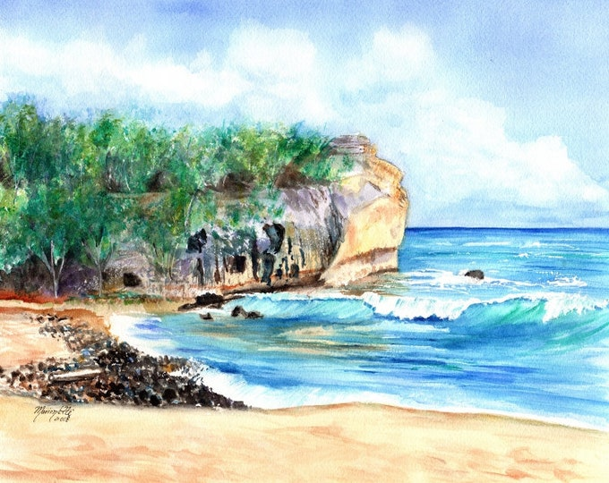 Shipwrecks Beach Hawaii, Shipwreck beach kauai, poipu beach kauai, kauai wedding art, beach wedding print, watercolor print, kauai art