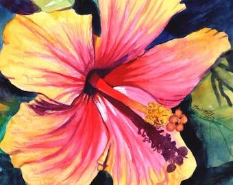 Hibiscus Print, Hibiscus Art, Hibiscus Painting, Pink Red Hibiscus, Tropical Flower art, Hawaii art, Hawaiian Hibiscus, Hawaiiana, Kauai art